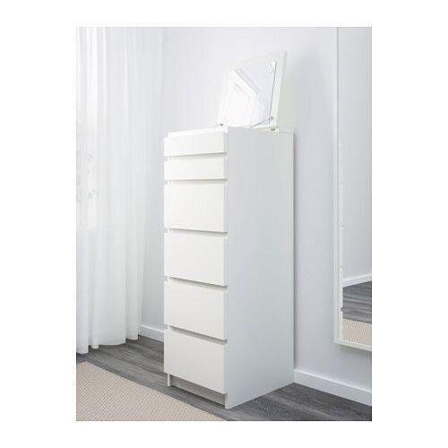 """IKEA """"МАЛЬМ"""" Комод с 6 ящиками, белый, зеркальное стекло - фото 1"""