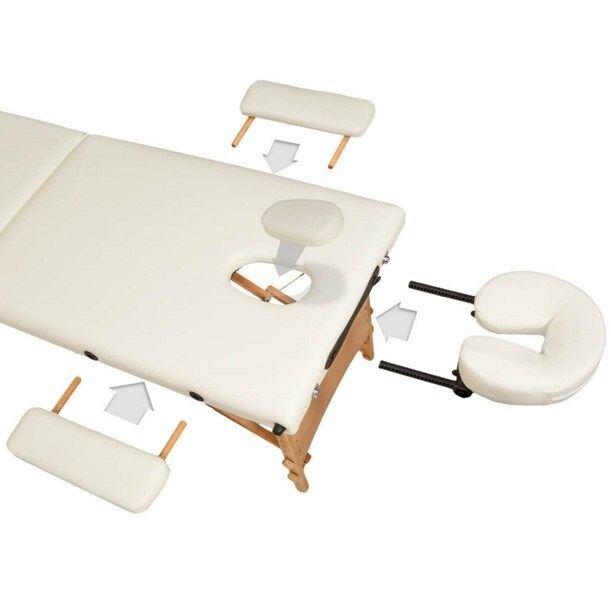 Массажный стол деревянный 3-х сегментный (Светло-бежевый) - фото 3
