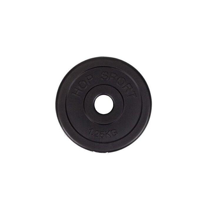 Блин для штанги или гантелей 1,25 кг битумный (млинець диск бітумний на штангу гантелі) - фото 1