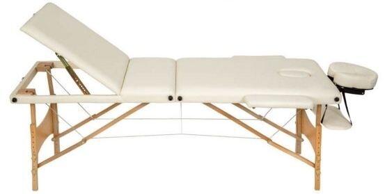 Массажный стол деревянный 3-х сегментный (Светло-бежевый) - фото 1