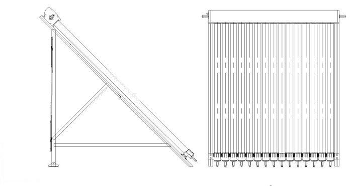 Вакуумный солнечный коллектор JX SPС-30(3) монтажная рама