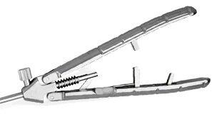 Лапароскопический иглодержатель с титановой V-образной ручкой и изогнутым влево наконечником, 5х330 мм - фото pic_9beceb9ae238cff2b5b83c014339a2b7_1920x9000_1.jpg