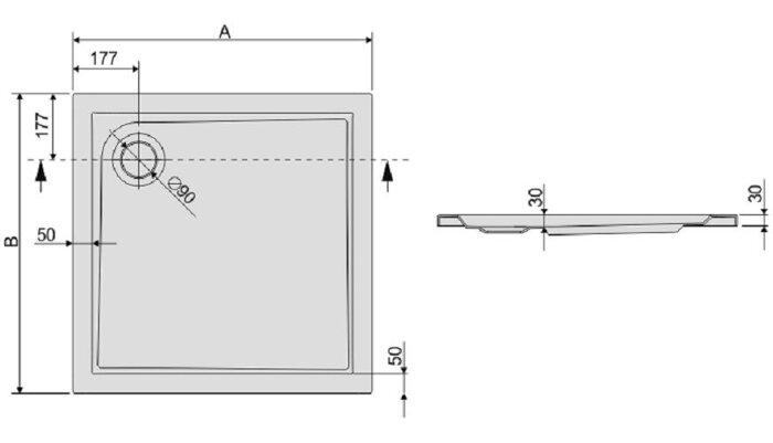 Душевой поддон квадратный или прямоугольный Bza/PR - фото pic_afa37078546a015_700x3000_1.jpg