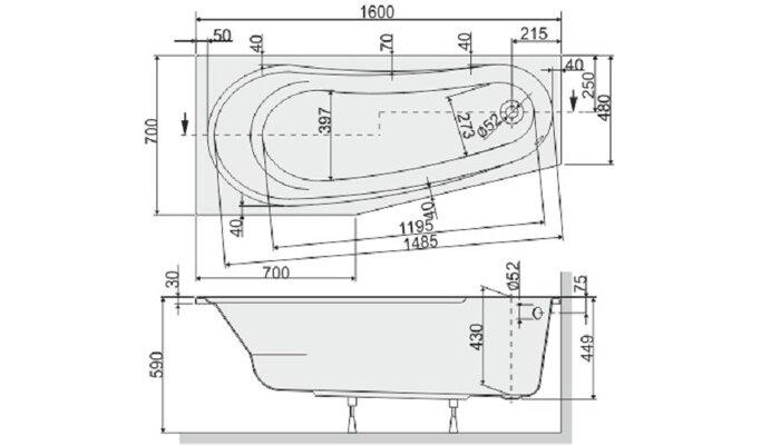 Ванна aсимметричная WAL (P)/AS - фото pic_c9cbeaf0f9667a7_700x3000_1.jpg