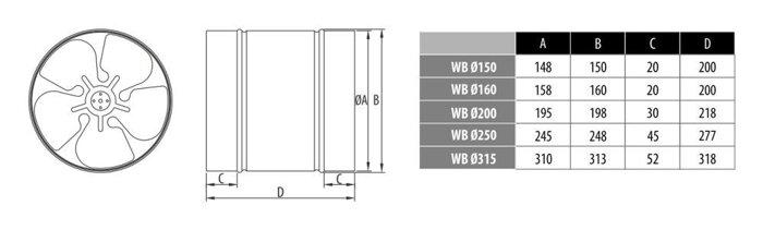Вентилятор канал осевой Dospel WB 160 - фото pic_5b2ba05dad840f7_700x3000_1.jpg