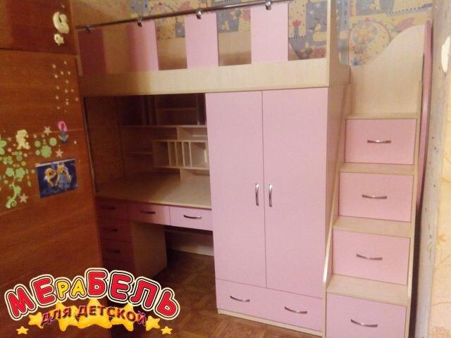 Детская кровать-чердак с рабочей зоной, шкафом, ящиками и лестницей-комодом КЛ16 Merabel - фото Детская кровать-чердак с рабочей зоной, шкафом, ящиками и лестницей-комодом КЛ16 Merabel