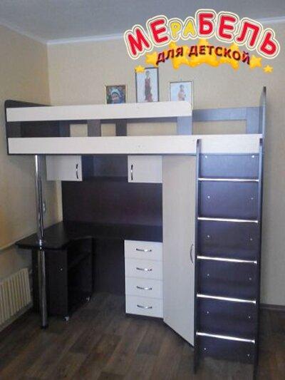 Детская кровать-чердак с рабочей зоной и угловым шкафом К19 Merabel - фото Детская кровать-чердак с рабочей зоной и угловым шкафом К19 Merabel