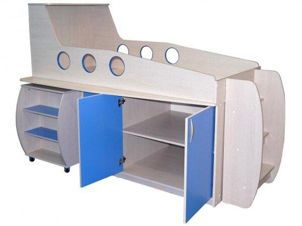 """Детская кровать """"Самолет"""" с выдвижным столом, тумбой и ящиками (д1) Merabel"""