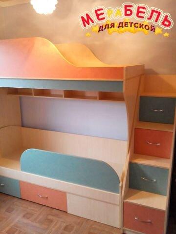 Детская двухъярусная кровать с рабочей зоной и лестницей-комодом (ал14) Merabel