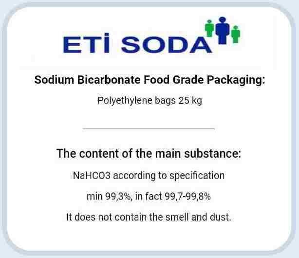 Качественные показатели пищевой соды производства ETI Soda (Турция)