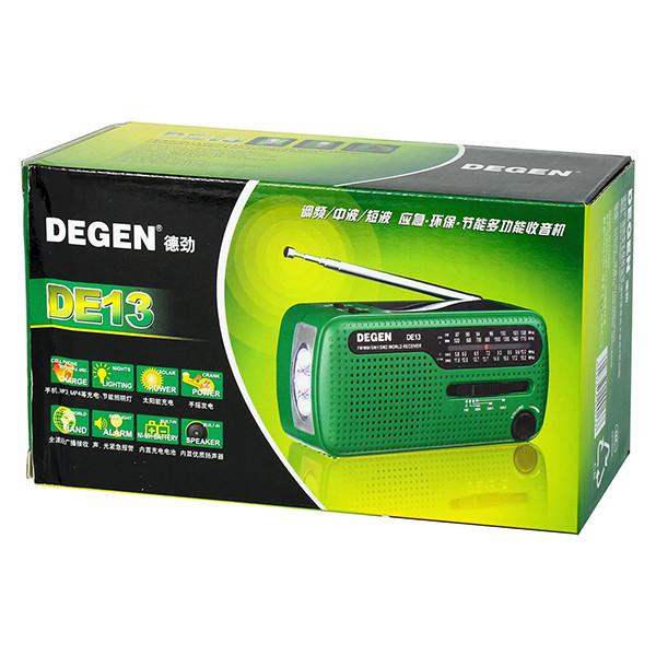 DE13-D - FM/AW/SW радиоприемник + MP3 (USB), ручной динамо-генератор, солнечная панель, фонарь, сигнал SOS, сирена - фото A0798A (1)