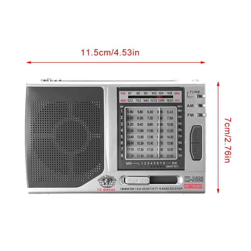 FM/MW/SW1-8 10-полосный высоко чувствительный радиоприемник с откидной подставкой Kchibo KK-9803 - фото 4N20327-7LOGO