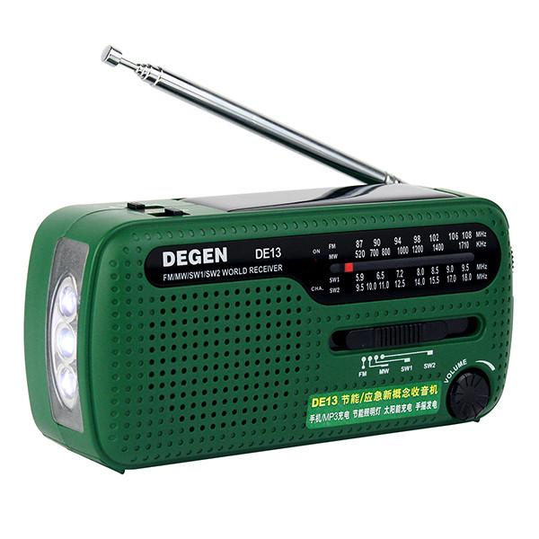 DE13-D - FM/AW/SW радиоприемник + MP3 (USB), ручной динамо-генератор, солнечная панель, фонарь, сигнал SOS, сирена - фото A0798A (15)