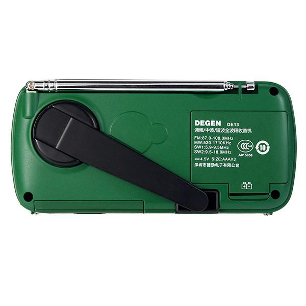 DE13-D - FM/AW/SW радиоприемник + MP3 (USB), ручной динамо-генератор, солнечная панель, фонарь, сигнал SOS, сирена - фото A0798A (10)