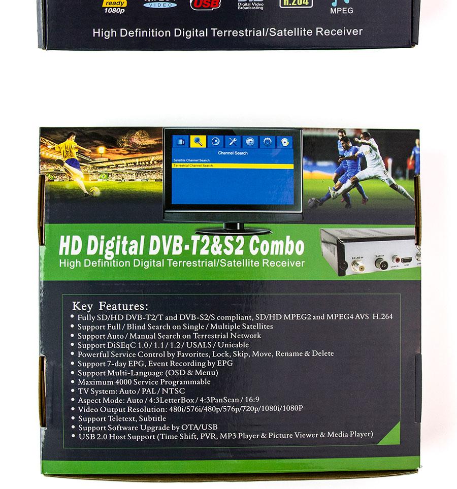 Спутниковая приставка DVB-S2 + DVB-T2 Combo HD цифровое спутниковое ТВ H.264 MPEG-2/4. Поддержка Bisskey. - фото -1_05