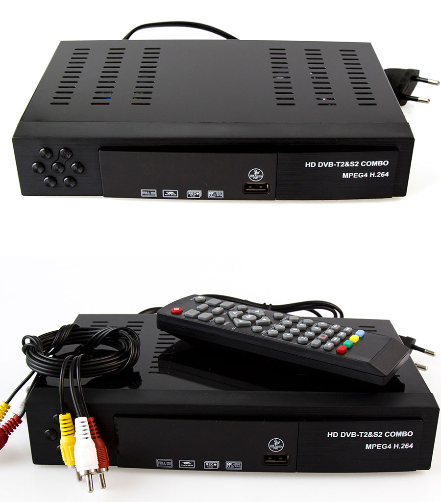Спутниковая приставка DVB-S2 + DVB-T2 Combo HD цифровое спутниковое ТВ H.264 MPEG-2/4. Поддержка Bisskey. - фото -1_01