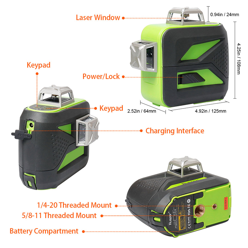 Huepar-12-Lines-3D-Cross-Line-Laser-Level-Self-Leveling-360-Vertical-Horizontal-Green-Beam-USB (3)