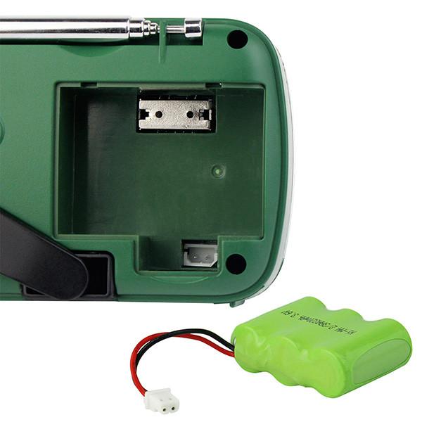 DE13-D - FM/AW/SW радиоприемник + MP3 (USB), ручной динамо-генератор, солнечная панель, фонарь, сигнал SOS, сирена - фото A0798A (16)
