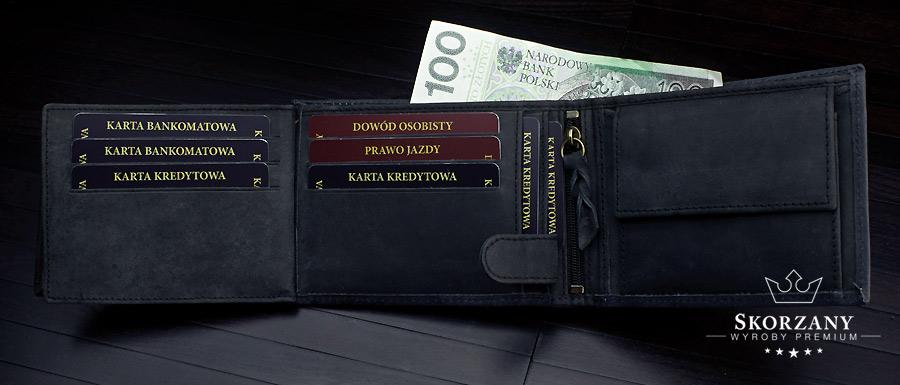 portfel z dużą ilością schowków na karty