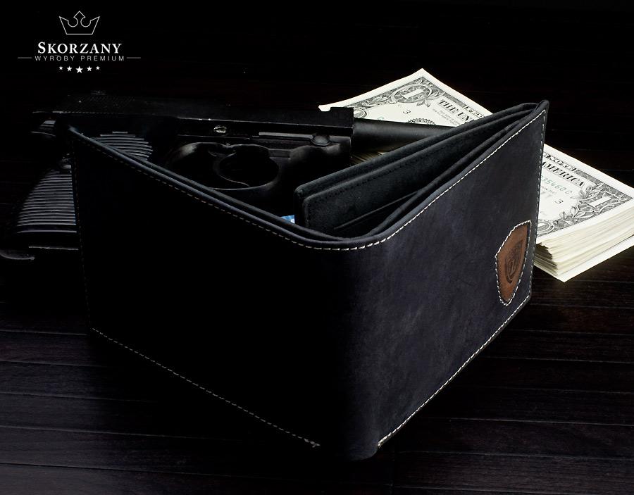 męski portfel skórzany - widok z góry
