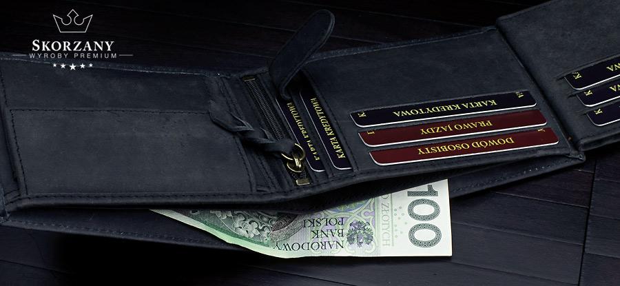portfel męski - przegrody na banknoty