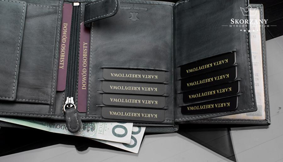 rozmieszczenie schowków w portfelu