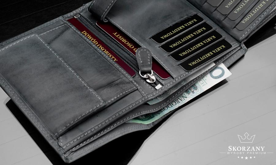 portfel skórzany Wild - kieszeń na banknoty