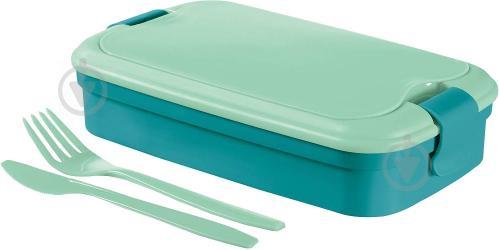 Контейнер для пищевых продуктов со столовыми приборами Lunch&Go 1,3 л голубой Curver - фото 2