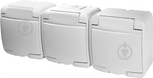 Розетка влагозащищенная тройная с заземлением ETI Hermetics со шторками с крышкой белый 4668023 - фото 2