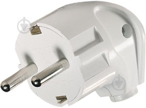 Вилка электрическая угловая Makel с заземлением 250В 16А ABS-пластик белый - фото 2