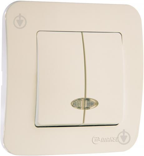 Выключатель двухклавишный Makel Lillium Natural с подсветкой 10 А 250В слоновая кость 55223 - фото 2