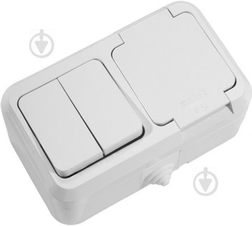 Розетка + выключатель с заземлением Makel IP44 без шторок с крышкой белый 18351 - фото 2