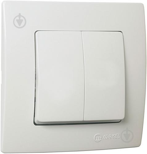 Выключатель двухклавишный Makel Lillium Natural Kare без подсветки 10 А 250В белый 32001003 - фото 2