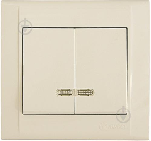 Выключатель двухклавишный Makel Defne с подсветкой 10 А 250В кремовый 42010023 - фото 2