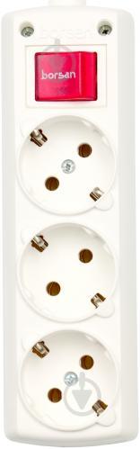 Колодка Borsan с выключателем с заземлением 3 гн. белый BR.1563-0 - фото 3