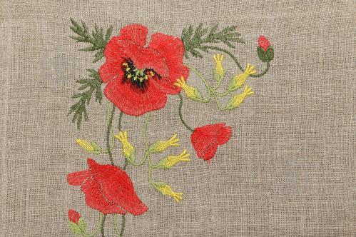 Набор Серпанок-Маки 4 салфетки d-17,5 см и ранер красный Галерея льна - фото 6