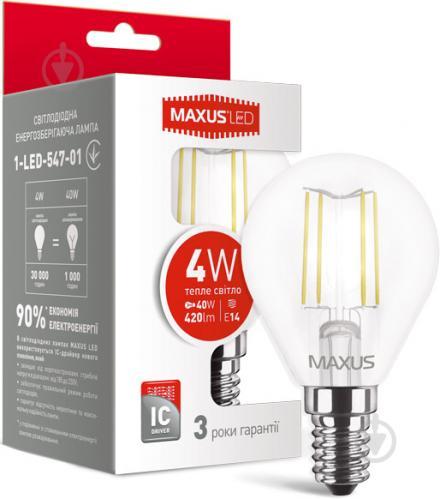 Лампа светодиодная Maxus FM G45 4 Вт E14 3000 К 220 В прозрачная 1-LED-547-01 - фото Лампа светодиодная Maxus FM G45 4 Вт E14 3000 К 220 В прозрачная 1-LED-547-01 - фото 4