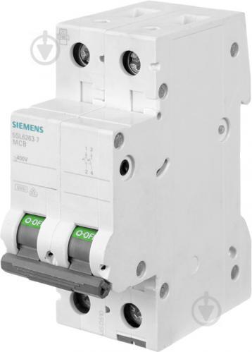 Автоматический выключатель Siemens 2p C 63A 6кА 400V 5SL6263-7 - фото Автоматический выключатель Siemens 2p C 63A 6кА 400V 5SL6263-7 - фото 2
