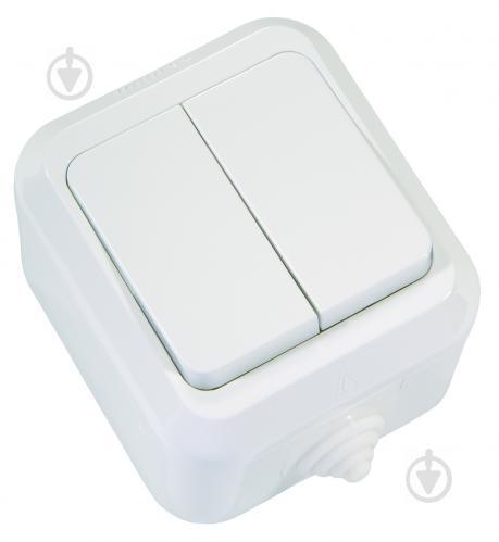 Выключатель двухклавишный Makel IP44 без подсветки 250В белый 18301 - фото 2