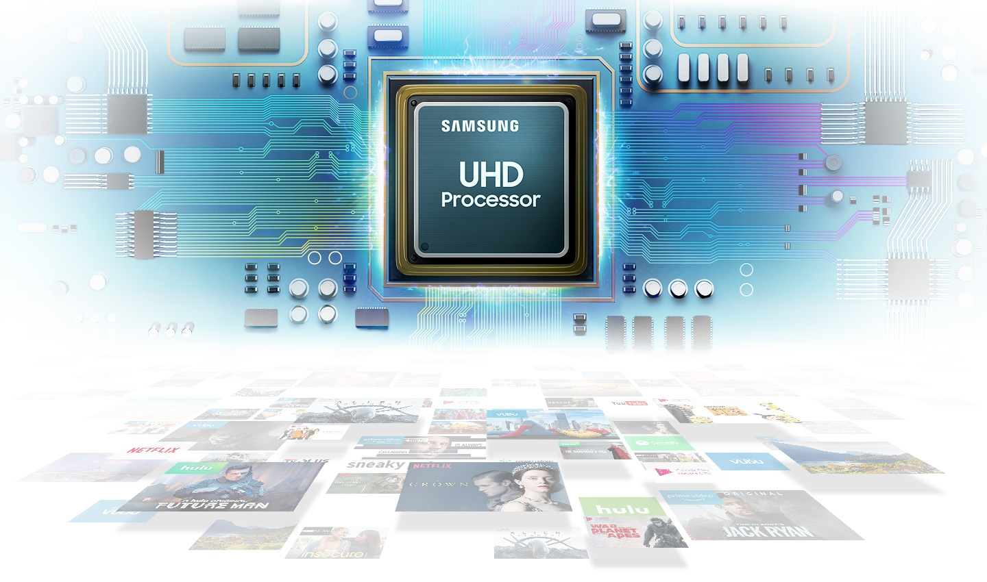 Телевизор SAMSUNG UE55RU7102 (2019г) 4K UHD 3840 x 2160, SMART TV, PQI (Picture Quality Index) 1400, HDR 10+, DVB-T2C - фото UHD Processor,powerful picture quality