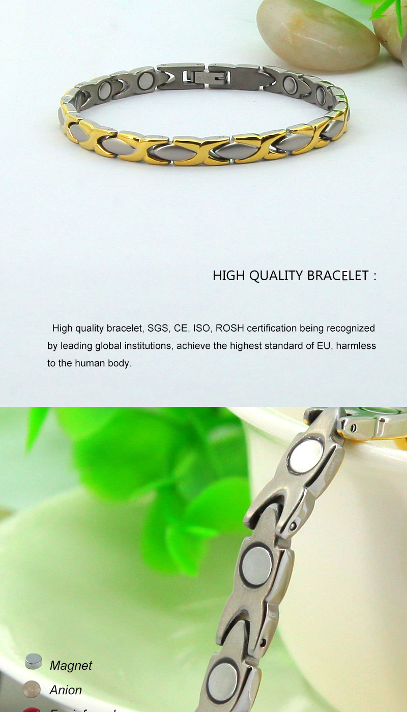 2015 new products stainless steel jewelry gold fashion jewelry guangzhou wholesale charms all magnetic bracelet