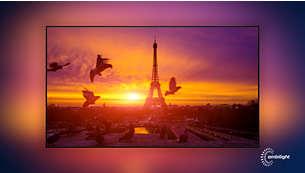 Телевизор Philips 65PUS6704/12 4K UHD LED Smart TV с 3-сторонней фоновой подсветкой Ambilight - фото Ambilight— впечатления без границ