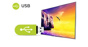 Телевизор Philips 32PFS5803 LED Full HD,1920 x 1080р, Smart TV, Wi-Fi, Pixel Plus HD, DVB-T/T2/T2-HD/C/S/S2 - фото USB для воспроизведения мультимедийного контента