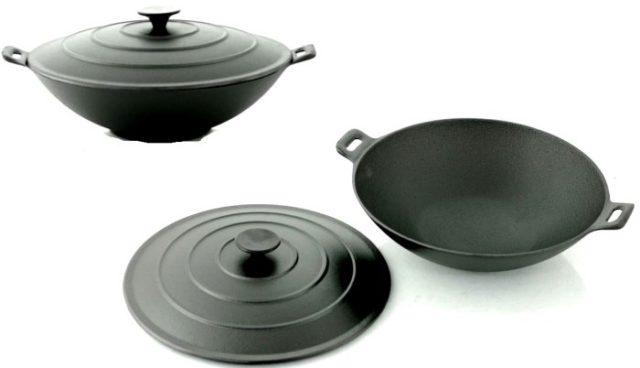 Cковороды (чугун) без покрытия - фото Вок с плоским дном