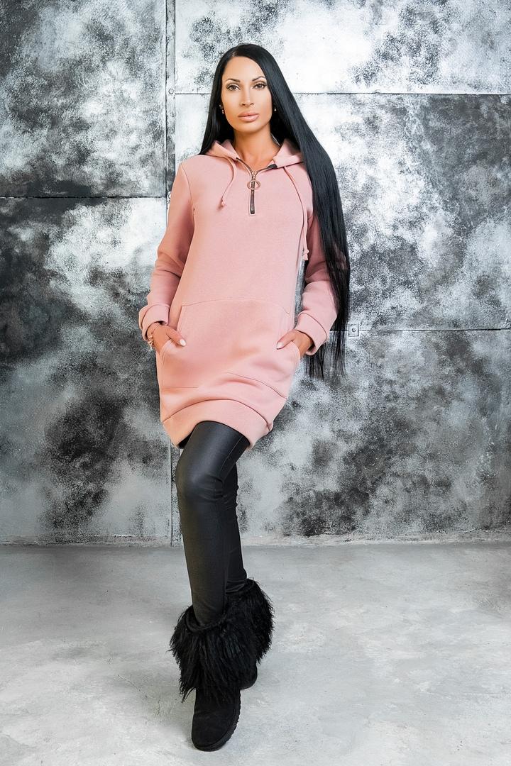 Женский удлиненный велюровый худи с капюшоном р. 44-54 синий - фото 2--93LbA7dA.jpg