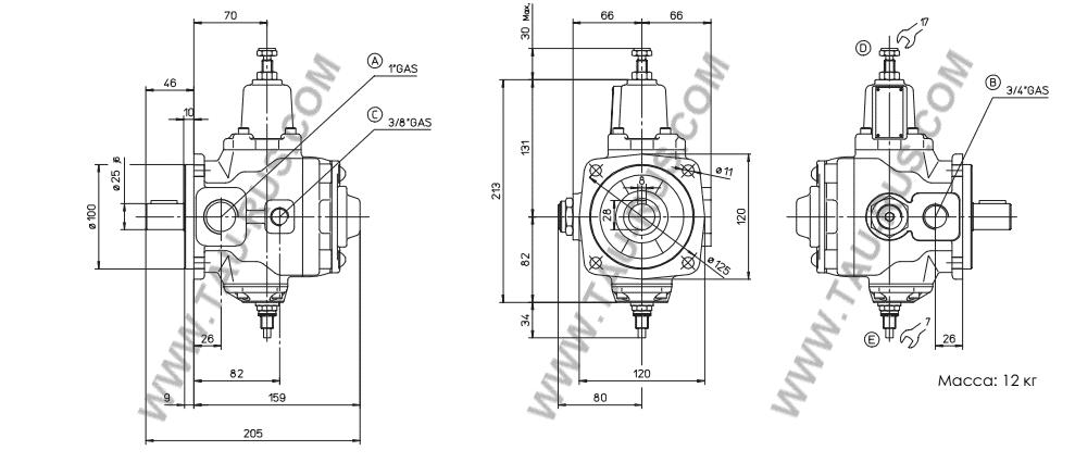 Atos Размеры насосов PVL-316/50, PVL-316, PVL-320/50, PVL-320