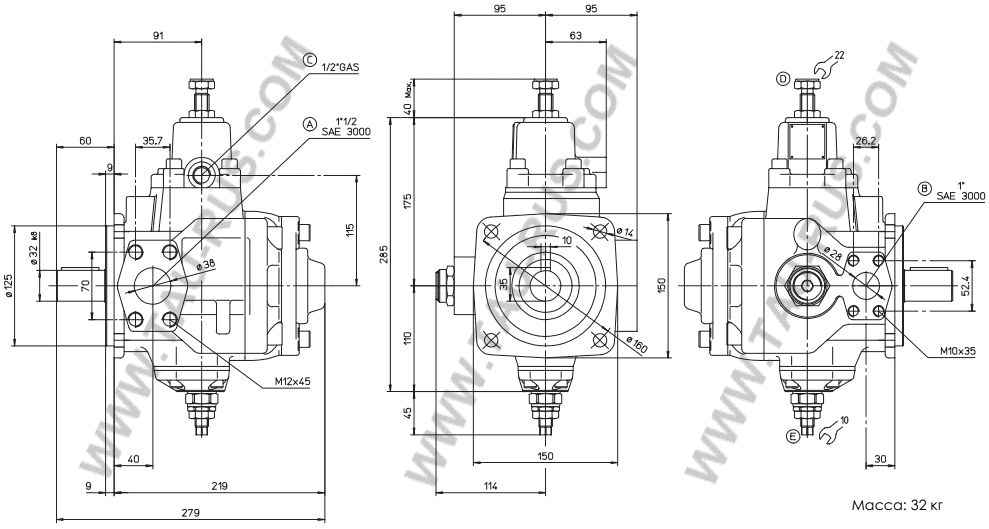 Размеры насосов ATOS PVL-440/50, PVL-440