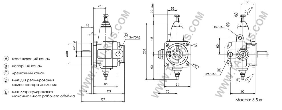Размеры насосов Atos (АТОС) PVL-206, PVL-206/50, PVL-206/150, PVL-210, PVL-210/50, PVL-210/150