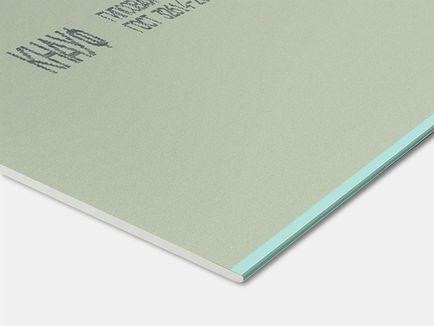 Гипсокартон влагостойкий потолочный ГКЛВ Knauf, 2500х1200х9,5 мм - фото КНАУФ-лист, влагостойкий (ГСП-Н2)