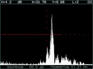 Дефектоскоп ультразвуковой УСД-50 - фото Полноэкранный режим дефектоскопа